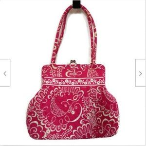 Vera Bradley pink quilted frame bag with clasp